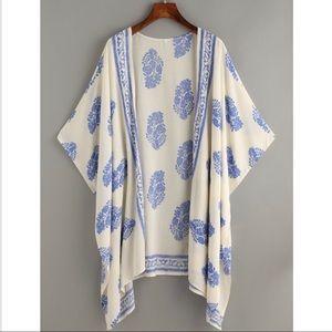 Fun vintage print hanky hem kimono